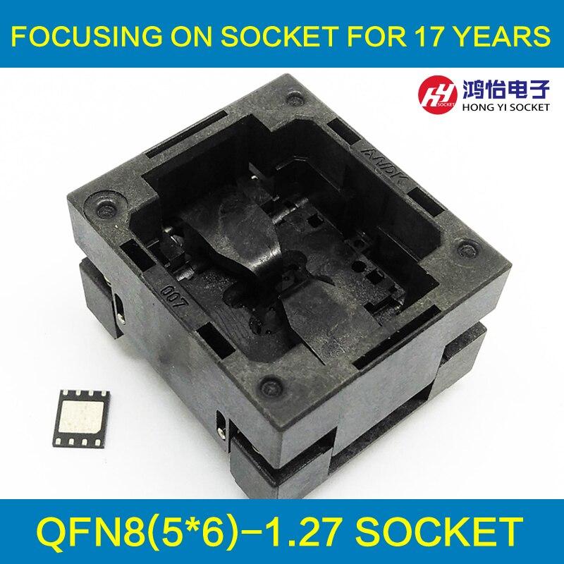 QFN8 MLF8 Quemar En El Zócalo Abierto Pogo Pin IC Socket De Prueba Paso 1,27mm Tamaño Del Chip 5*6 Enchufe De Programación De Adaptador De Flash