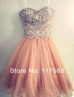 Short Coral Prom Dress with Spaghetti Strap High Quality Tulle Beaded Girls Prom Gown Peach Color Party Gown