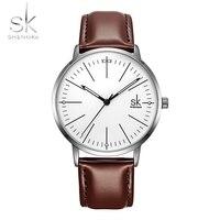 SK brand Fashion couple Montre Femme Reloj Mujer Leather strap Men Watch Quartz couple elegant clock reloj mujer analogico 2018