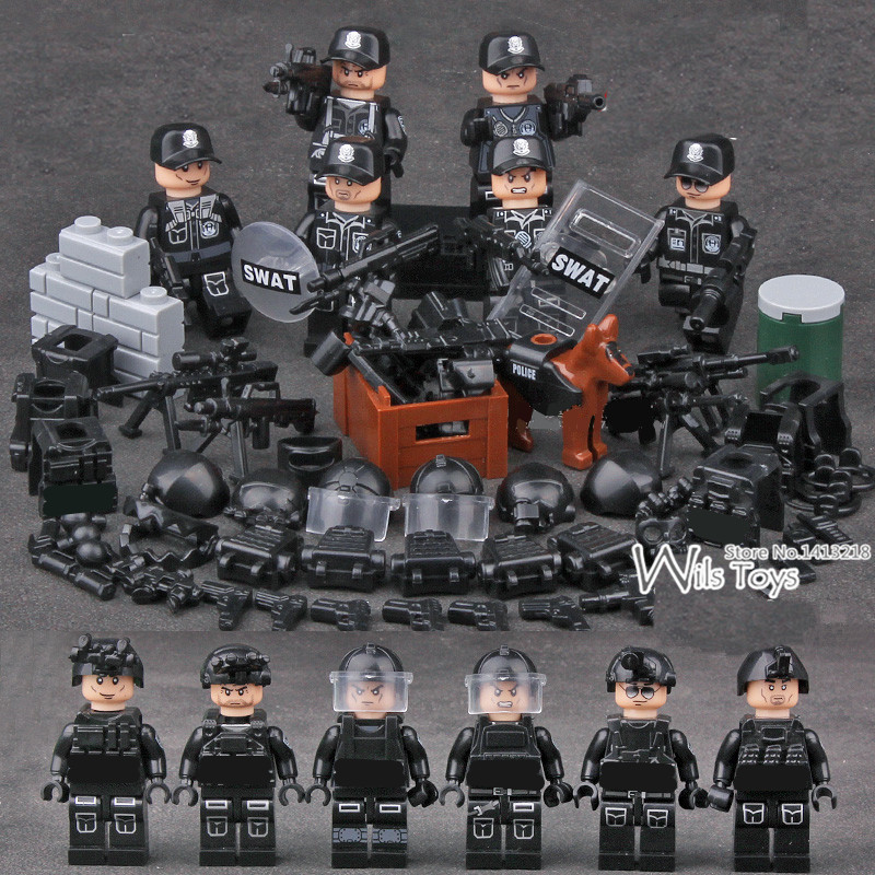 6pcs SWAT Military Army World War 2 Navy Seals Special Forces Team Soldier Mini Building Blocks Figures Boy Educational Toy Boy 12pcs legoinglys ww2 military figure biochemical world war air weapons guns us army soldier swat team vs zombies building blocks