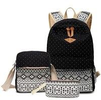Korean Canvas Printing Backpack Women School Bags For Teenage Girls Cute Bookbags Vintage Laptop Backpacks Female