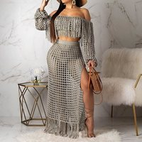 Summer Sexy Club African Plus Size Two Piece Set Women White T Shirts Long Skirts Off Shoulder Tassel Mesh Female Fashion Suits