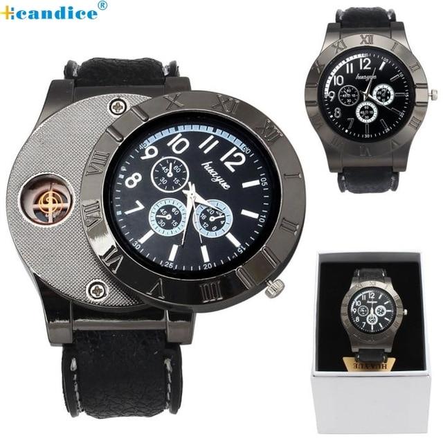 Milky  1PC Windproof Casual Military Quartz Watch USB Cigarette Cigar Flameless Lighter reloj  DEC19