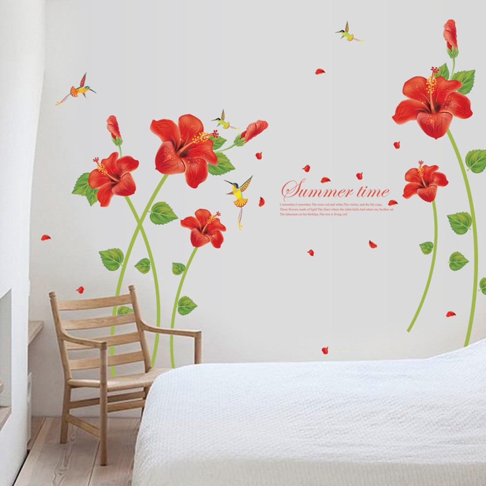 Red Poppy Flower Wall Stickers Removable Decal Home Decor Diy Art