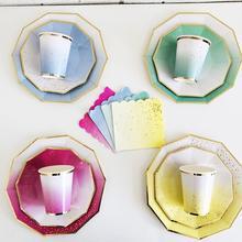 Вечерние тарелки с розовыми радужными золотыми точками, обеденные тарелки/чашки/соломинки/салфетки, тарелки для вечеринки, дня рождения, свадьбы, мероприятия, декоративная столовая посуда