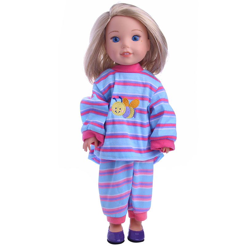Cute Baby Doll Clothes pajamas Wear Fit 14 Inch Doll American Girl Wellie Wishers Dolls Clothes Children Best Birthday Gift