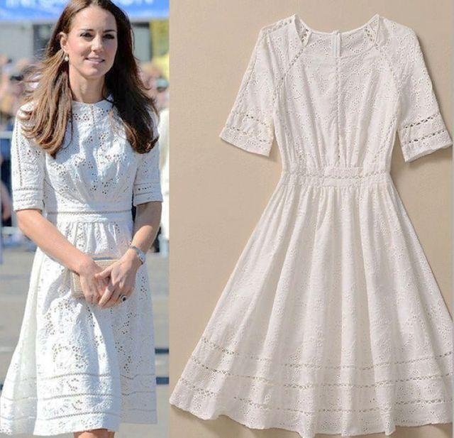 ce2379471f Vestido de la alta calidad Kate Middleton princesa vestido de moda de  elegante de algodón blanco