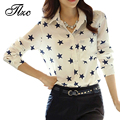 Top Sale Women Patchwork Shirts Size S-2XL Chiffon Fabric Polyester Material Lady Casual Blouse Mesh Design Star Printing