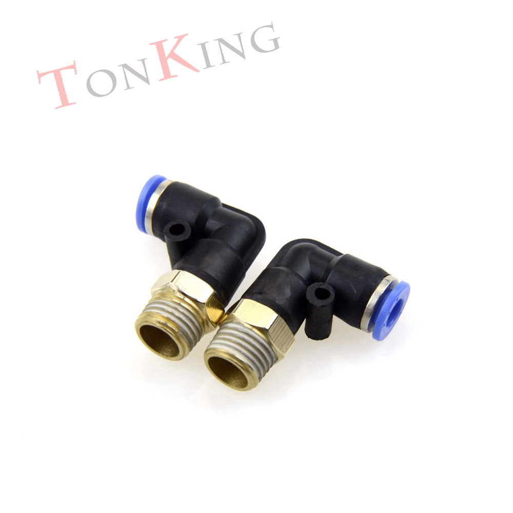 Pneumatic fitting quick connector Thread Male bend PL series Pneumatic Fitting For PU nylon Hoses 1 pack Air Connector 4mm dia tube 5mm male thread pneumatic speed controller quick connector