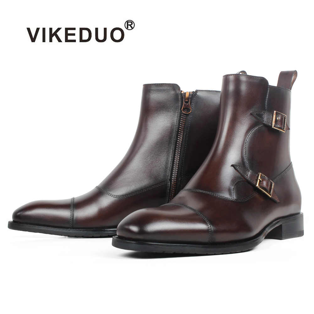 VIKEDUO Square Toe Plain Genuine Cow Skin Boot Patina Brown Handmade Bespoke Leather Men Boots Casual Men's Buckle Ankle Boots