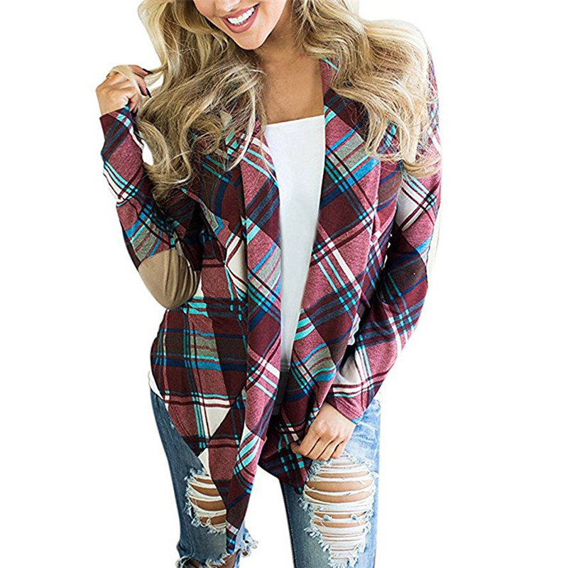 New Cardigan 2019 Women Casual Long Sleeve Plaid Printed Sweater Fashion Knitted Cardigan Jumper Plus Size Outwear