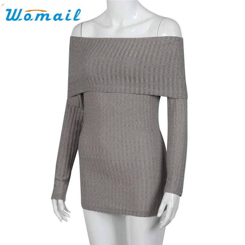 Womail Recién Diseño de Moda Mujer Sexy de Invierno Tapa Larga Flaco Apretado Tejido de Punto Suéter Casual Hombro Camisa 160926 Nave de La Gota