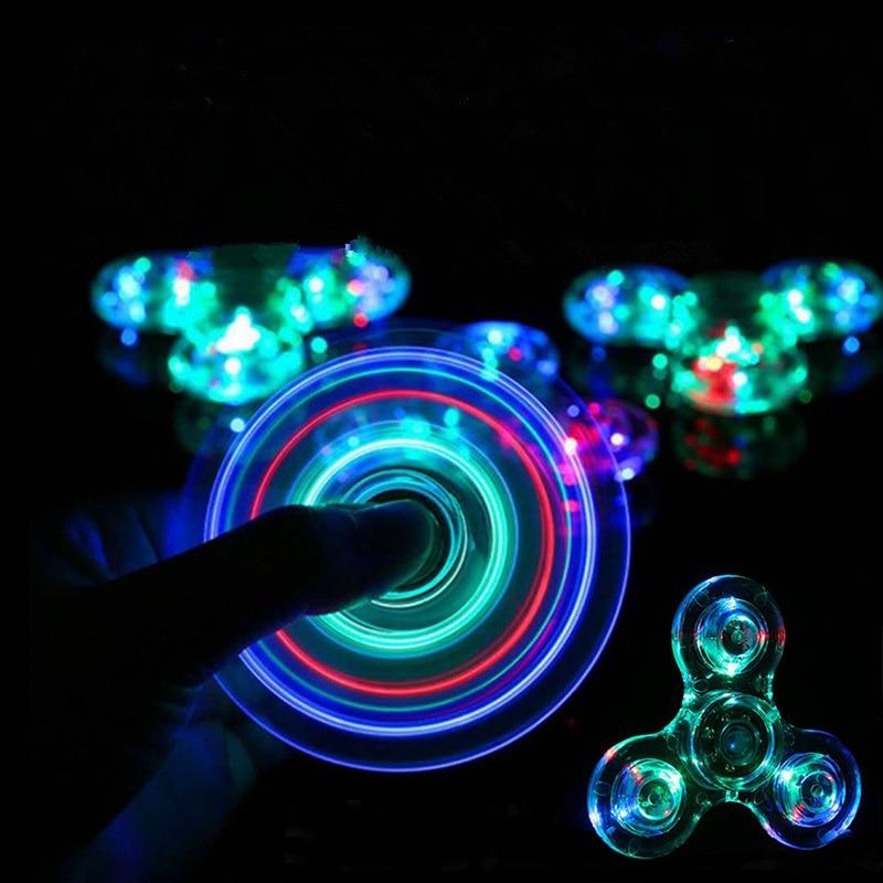 Anti-stress LED Light Finger Spinner Hand Colorful Luminous Fidget Spinner Stress Relief Toy Children's Novelty EDC Adult Toy
