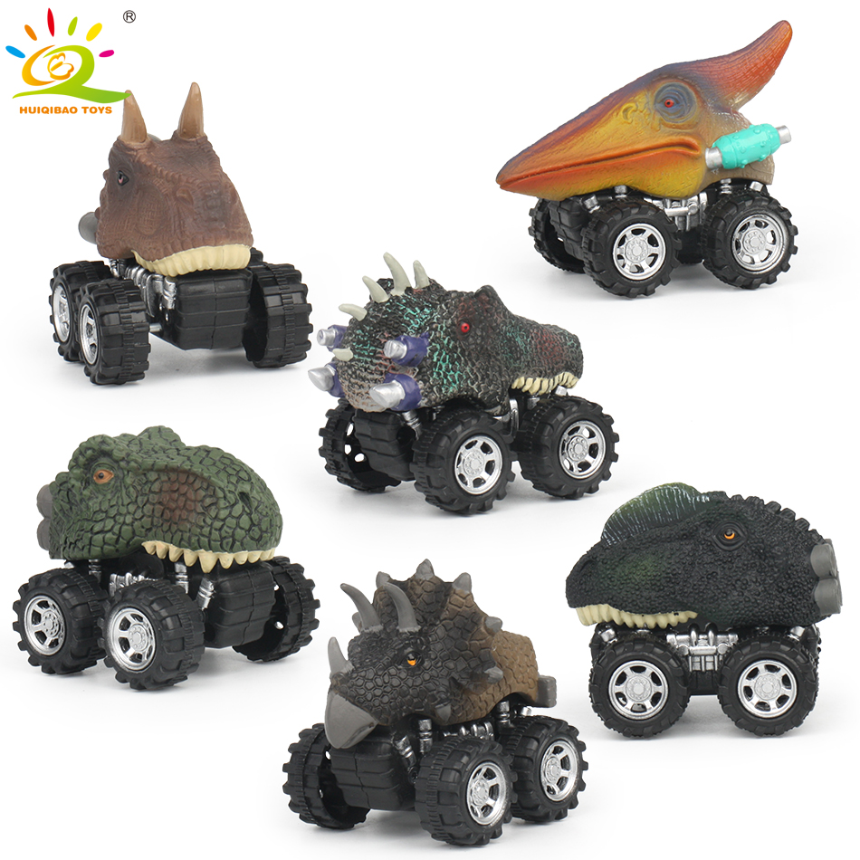 HUIQIBAO TOYS 6-Pack Pull Back Dinosaur Cars Dino Diecasts Vehicles Toys with Big Tire Wheel Creative Gifts for Kids children