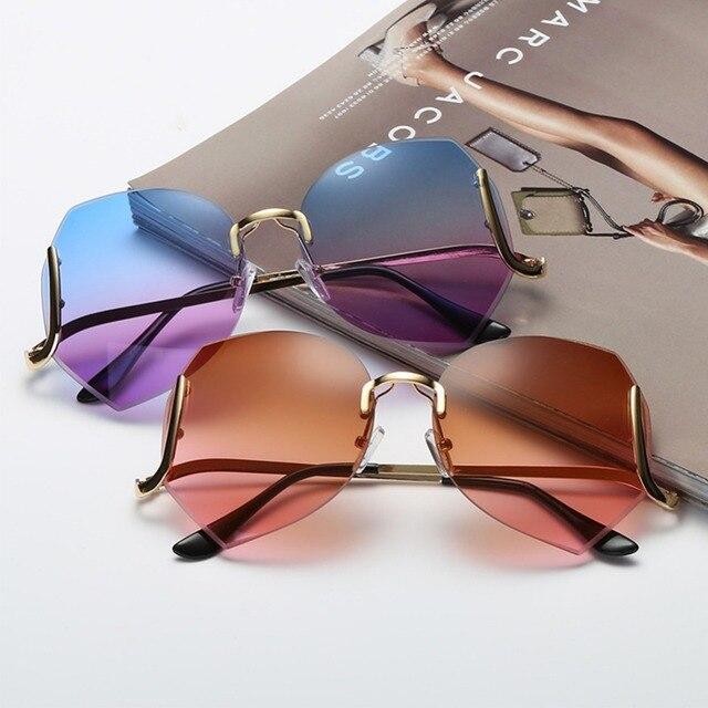 d949638bf4f54 Elegante Gradiente Sem Aro Óculos De Sol Das Mulheres de Grandes Dimensões  de Luxo Diamond Cut
