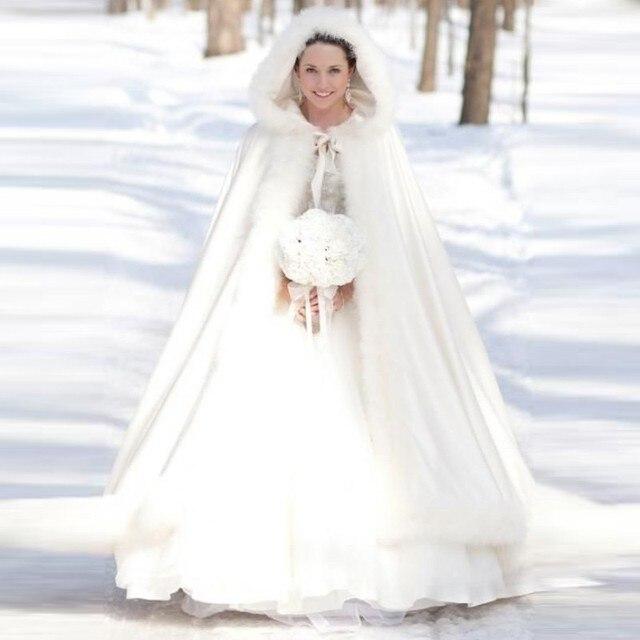 Plus Size Winter Bridal Cape Faux White Fur Coat Wedding Cloaks Hooded Jackets