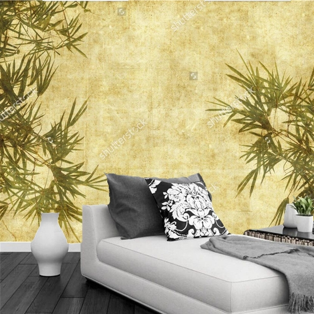 Custom China WallpaperBamboo On Antique Paper Texturenatural Scenery For The Living Room