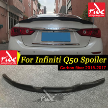 цена на High-quality Rear Spoiler For Infiniti Q50 Q50S Carbon Fiber Rear Trunk Spoiler Japan-Style Tail Trunk Lid Boot Lip Wing 2015-17