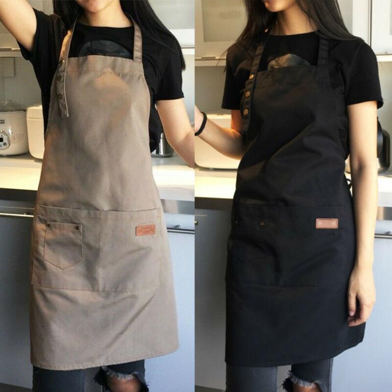Denim Canvas Pockets Apron Butcher Crafts Baking Chefs Kitchen Cooking BBQ Plain 1pc Waterproof Black Washable Crafts Baking