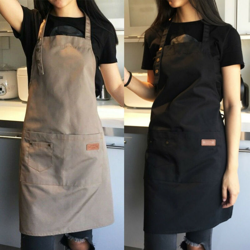 Denim Canvas Pockets Apron Butcher Crafts Baking Chefs Kitchen Cooking BBQ Plain 1pc waterproof black washable Crafts Baking image
