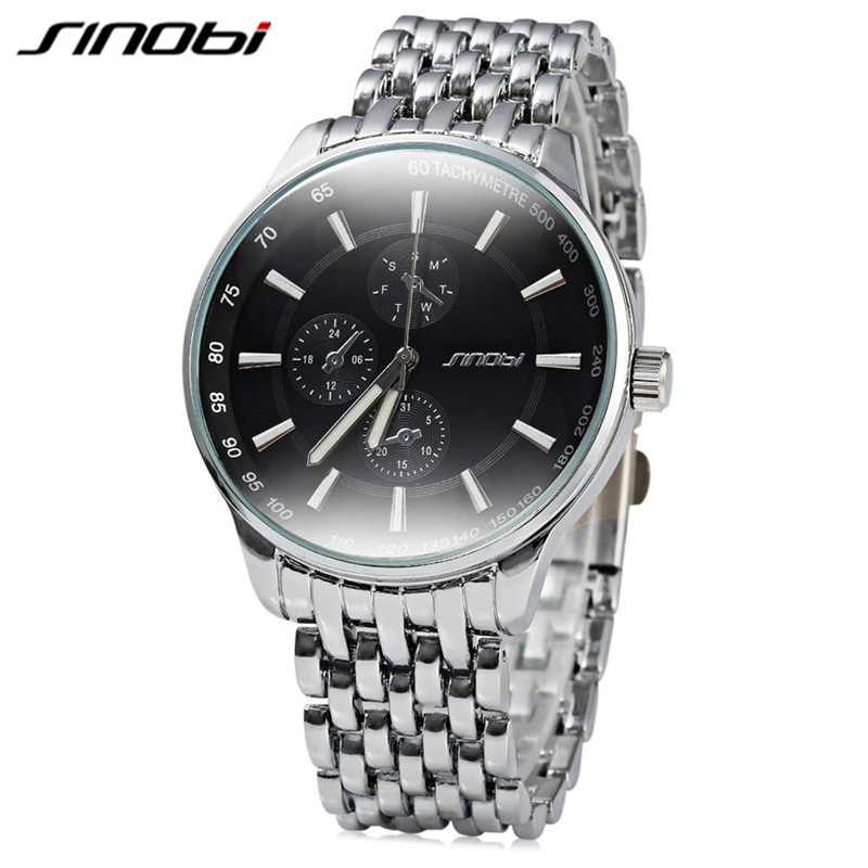 SINOBI Casual Full Steel Quartz Watches Men Quartz watch Clock Men Watch Luxury Brand Male Wristwatch