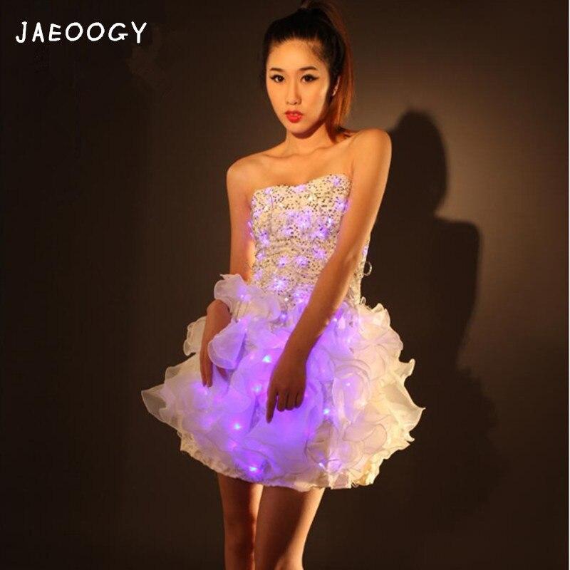 Бесплатная доставка высокого качества светодиодный световой торжественное платье, красивая женщина, сверкающими для выступления, костюм в