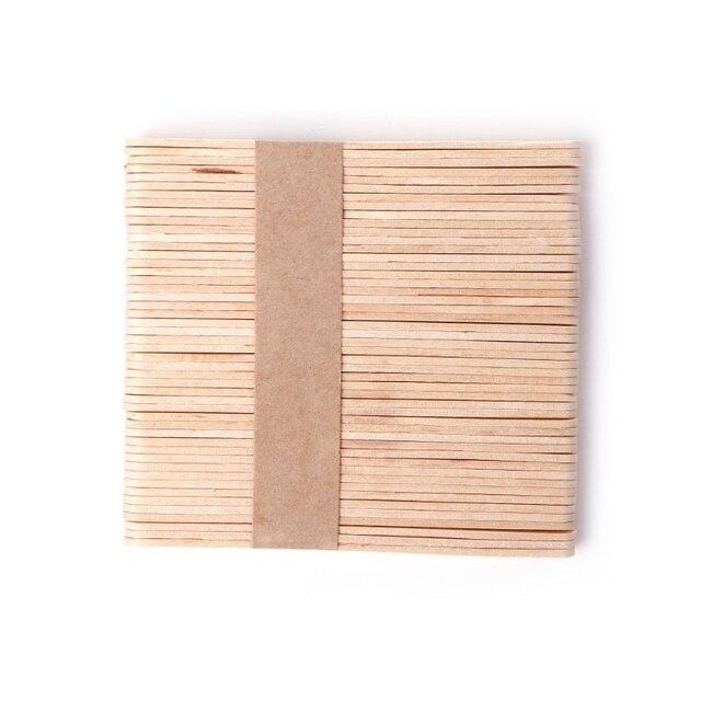 50 piezas de cera encerada de madera espátula de la lengua depresor juego de palillos de bambú desechables