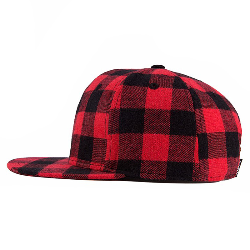Basketball Snapback Hip-Hop Cap Plaid Black Hiphop-Size Wuke Women 55-60cm Red