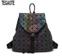 Новые женские BAOBAO световой рюкзаки женская мода девушка Ежедневно Рюкзак Геометрия Упаковка пайетки складные сумки Bao школьные сумки