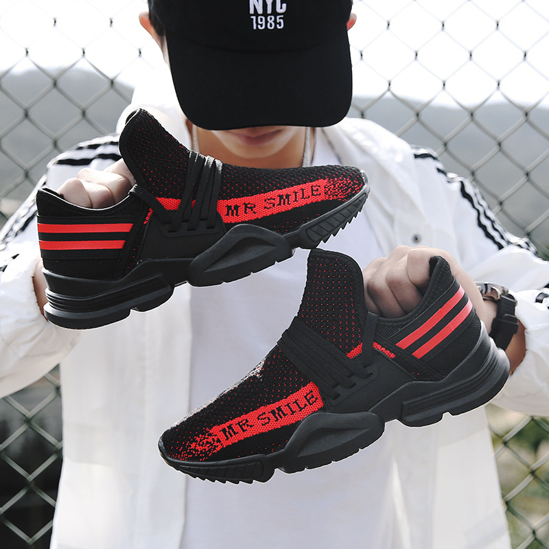 Explosion models 2018 summer flying coconut woven shoes mens super fire running sports shoes