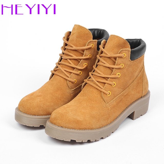 6fdb62efd46 US $31.19 48% OFF|HEYIYI Ankle Boots Women Winter Martin Short Platform  Boots Cow Suede Genuine Leather Lace up Hiking Soft Non slip Casual  Shoes-in ...
