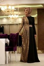 A-line With Hijab Two Colors Velvet Elegant High Collar Casual Muslim Long Sleeve Long Evening Dress with a Train