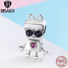 BISAER 925 Sterling Silver Tick Tock Robot Lady Child Toy Charms Beads Charm fit Original Bracelets Silver 925 Jewelry ECC885(China)