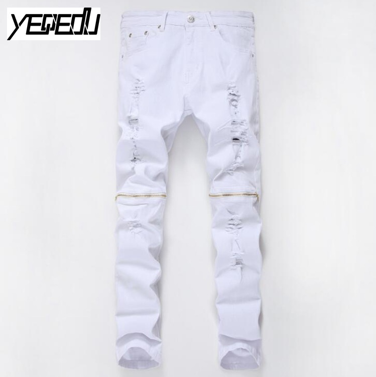 #0702 2018 Mens Skinny Jeans Fashion Famous Brand Hip Hop Jeans Distressed Black/White Ripped Jeans Slim Fit Stretch Denim