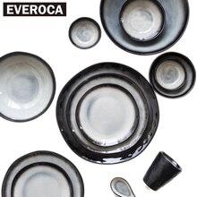 Japanese-style ceramic porcelain tableware dinnerware bowl plate cup dish black stripe rice soup sushi