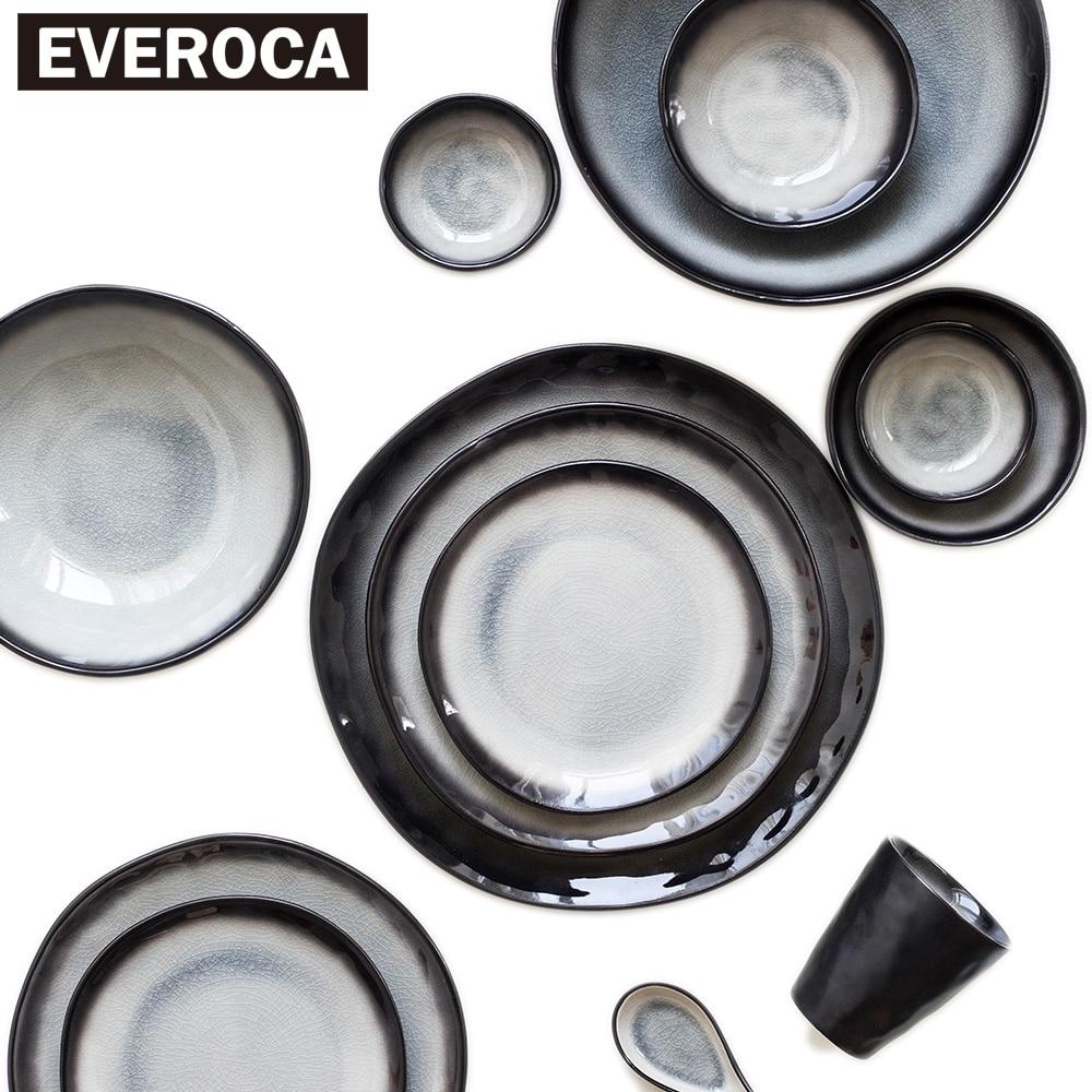 Japansk stil keramisk porcelæn porcelæn servise skål plade kop skål sort stribe ris suppe sushi