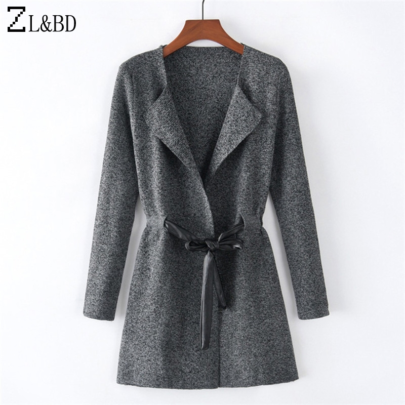 ZL&BD Casual Long Sleeve Turn Down Collar Long Cardigan Coat Women Autumn Winter Outwear Knitted Sweate Coat With Belt ZA748 ...