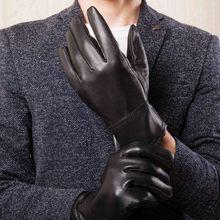 Gloves Men Driving Mittens Velvet Riding Winter Genuine-Leather New Warm Plus Outdoor