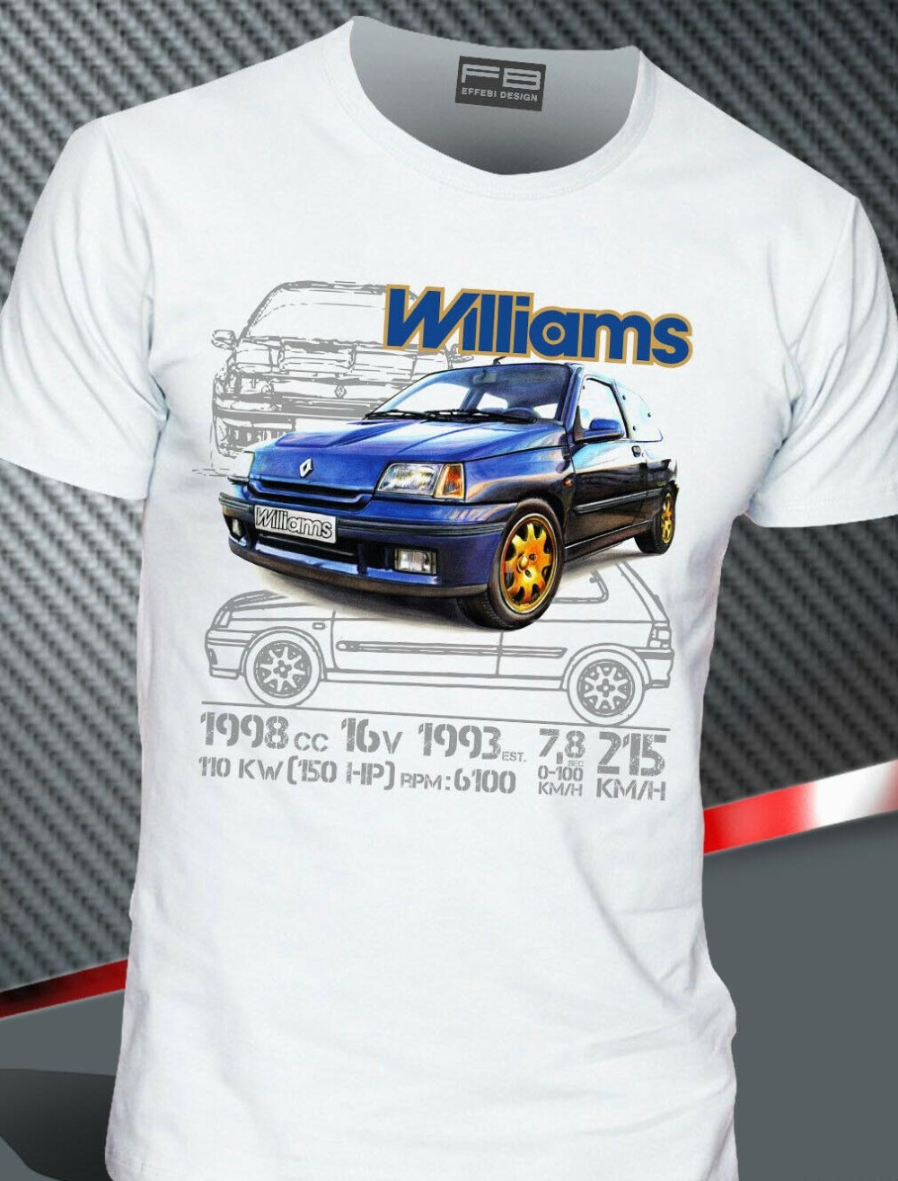 T  -  Shirt   Renault Clio Williams 2.0 16V Maxi Rally Legend Montecarlo 2019 Hot Sale Men'Short Sleeve O-Neck Summer Print   T     Shirt