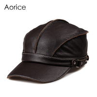 Aorice Genuine Leather Men Baseball Cap Hat Brand New Men S Real Leather Adult Solid Adjustable