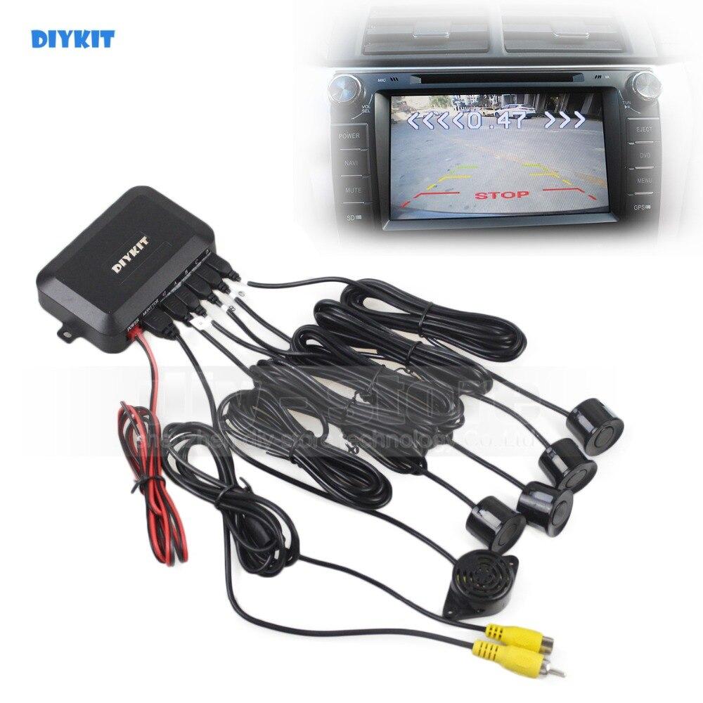 DIYKIT de reversa coche Video Radar aparcamiento Sensor 4 Vista trasera de sistema de seguridad sonido zumbador alerta de alarma para la cámara de coche monitor