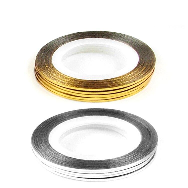 Gold Striping Tape Nail Art: Free Shipping 25pcs Gold Color + 25pcs Silver Color