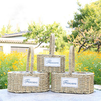WHISM Handmade Wicker Woven Storage Baskets Picnic Food Drink Toys Sundries Rattan Storage Container Flower Plant