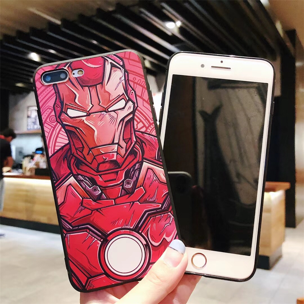 timeless design d9fb1 8a277 US $1.99 |FLYYUK Cartoon Iron Man Phone Case for Iphone 8 Plus Fashion  Emboss Soft TPU Silicone for Iphone X Case for Iphone 6 6s 7 7 Plus-in  Fitted ...