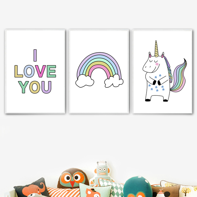 Cartoon Unicorn Rainbow Love Quotes Wall Art Canvas Painting Nordic