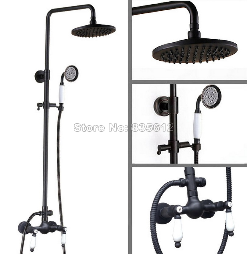 Bathroom 8 Shower Head Black Oil Rubbed Bronze Wall Mounted Luxury Rain Shower Faucet Set with Hand Spray Mixer Tap Wrs474