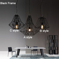 E27 Pendant Light Hanging Lamp Iron Bird Cage Modern Light for Home garden coffee room decoration