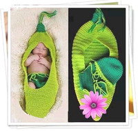 Детские Подставки для фотографий крючком ползунки Костюмы комплект Шапка-бини зеленой фасоли костюм вязаный детский наряд для фотосессии ...