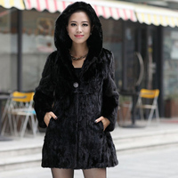 women natural mink fur coat with hood female black mink fur jacket middle long lady fashion style winter warm garment clothing