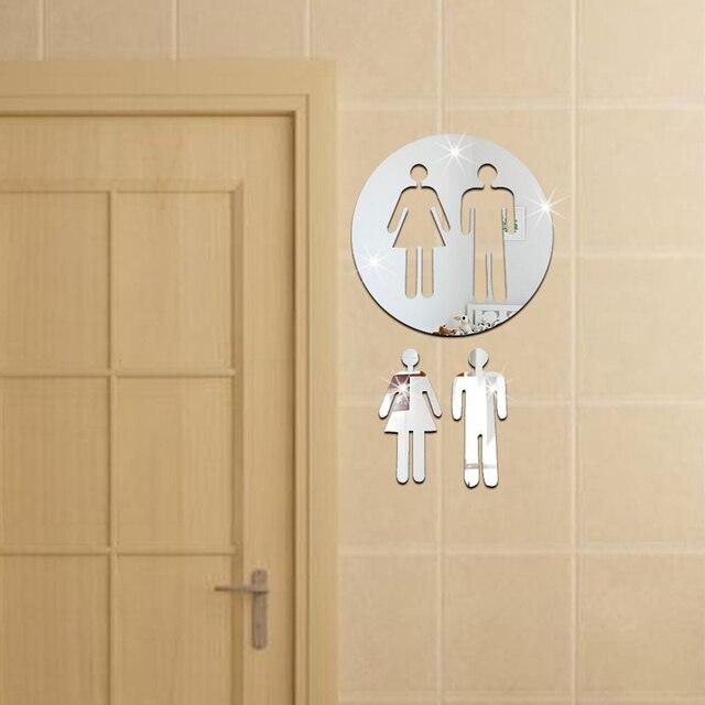 Donna e uomo segno toilette bagno logo wc adesivi a specchio a parete argento gabinetto porta - Toilette da bagno ...